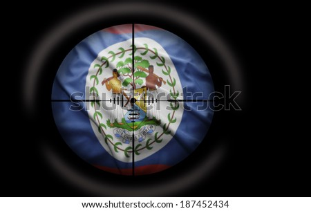 Sniper scope aimed at the Belize flag