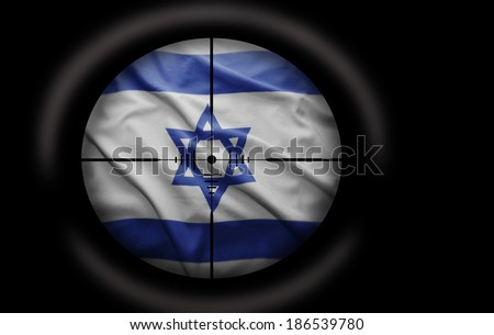 Sniper scope aimed at the Israeli flag - stock photo