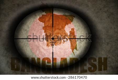 sniper scope aimed at the vintage bangladesh flag and map - stock photo