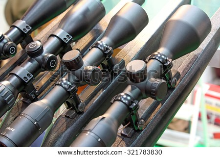 sniper scope for hunting close up - stock photo
