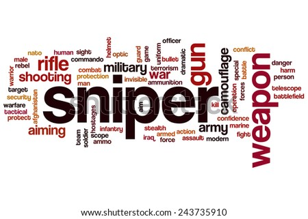Sniper word cloud concept with rifle shooting related tags - stock photo