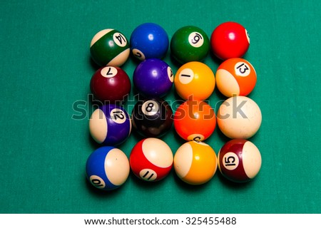 Snooker balls on snooker table