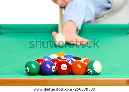 Snooker Player, isolated on white background - stock photo