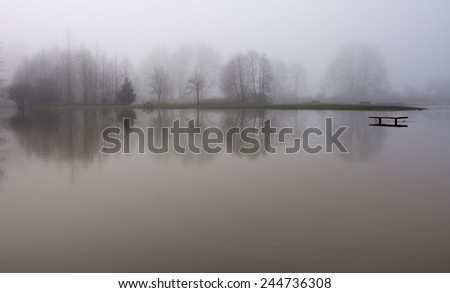 Snoqualmie river floods the park in Duvall, Washington - stock photo