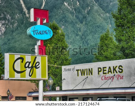 SNOQUALMIE, WA - AUG 22:Cafe Twin Peaks on August 22, 2006 in Snoqualmie, WA. The cafe became famous after Twin Peaks TV series. - stock photo