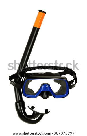 snorkel and diving mask isolated on white