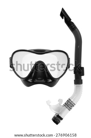 Snorkel and Mask for Diving isolated on white background. - stock photo