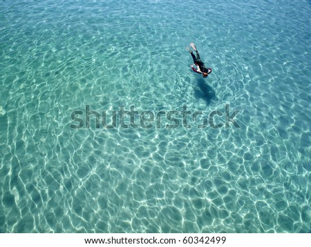 snorkeling in shallow tropical lagoon