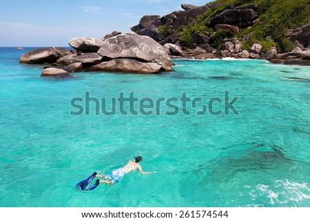 snorkeling on Similan islands in Andaman sea, Thailand - stock photo