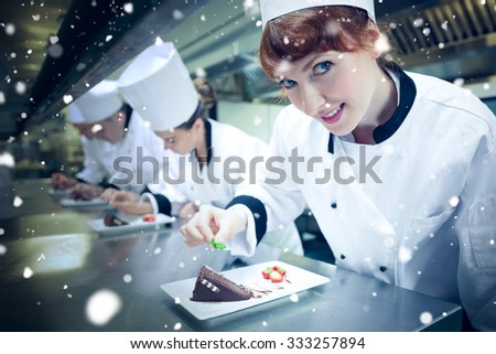 Snow against smiling chef garnishing dessert plate - stock photo