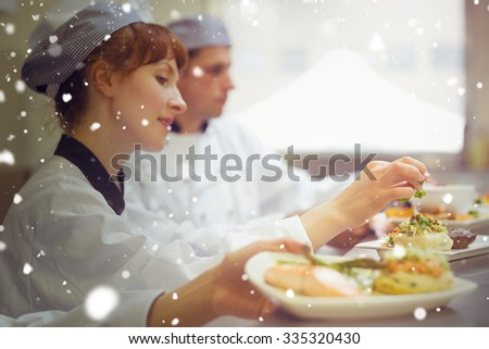 Snow against young female chef preparing a plate - stock photo