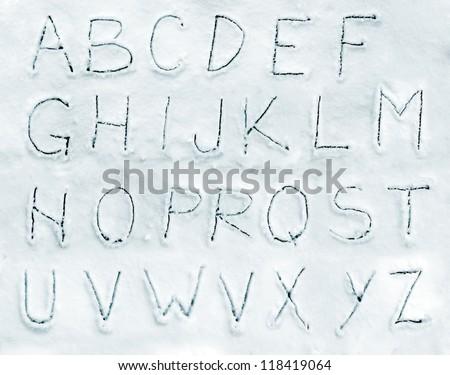 Snow alphabet font - stock photo