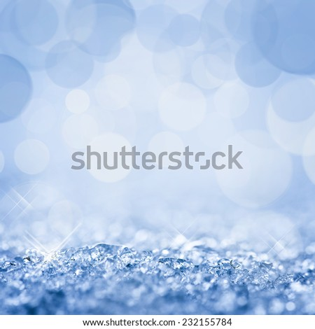 Snow and bokeh square background - stock photo