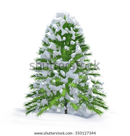 snow and christmas tree isolated on white background