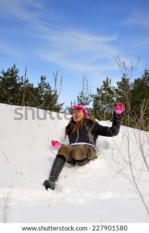 Snow and girl  - stock photo