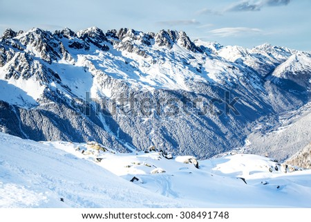 Snow and ice mountain scape view from the station  of the Aiguille du Midi in Chamonix, France