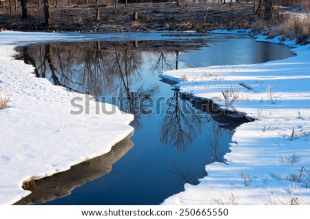 Snow and ice with open water reflecting trees on pond in wildlife reserve of bloomington minnesota - stock photo