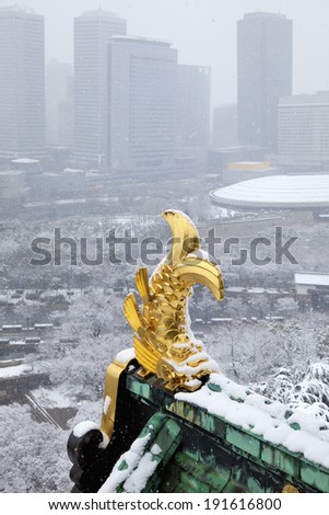 Snow and killer whale of Osaka Castle gold - stock photo