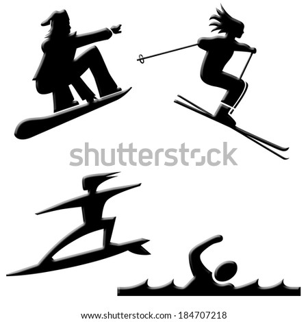 Snow and water sports icons