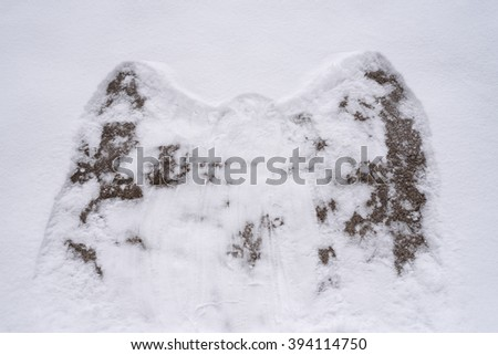 Snow angel on a rock
