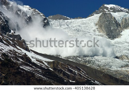 snow avalanche in mountains