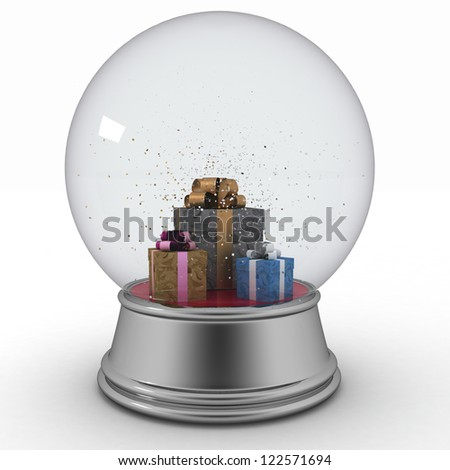 Snow ball with  presents on white background - stock photo