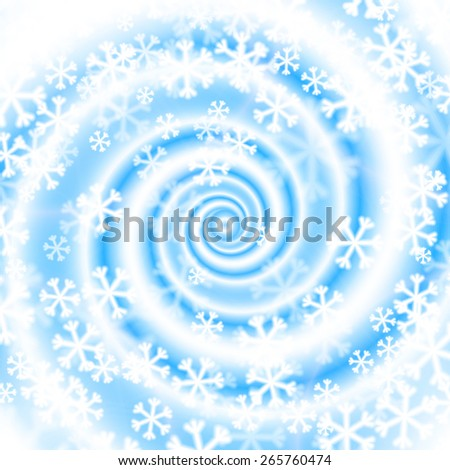 Snow blizzard swirl. Winter background with huge vortex of snowflakes. Raster version. - stock photo