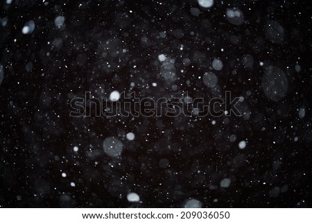 snow bokeh texture on black background - stock photo