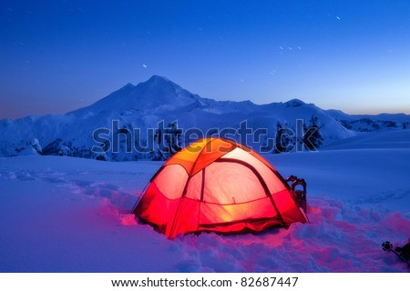 Snow Camping in Mt. Baker - stock photo