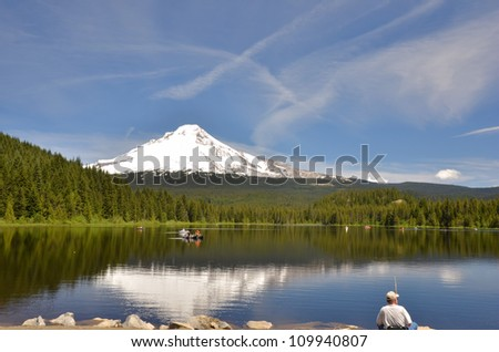 Snow-capped Mount Hood Reflecting in Trillium Lake