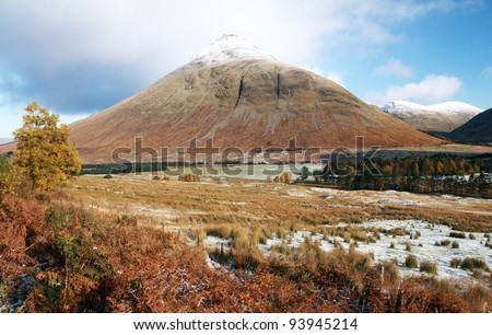 Snow capped mountain scene near Glencoe in the Scottish highlands
