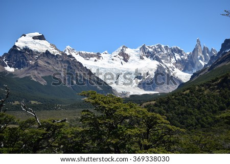Snow capped mountains in Patagonia - stock photo
