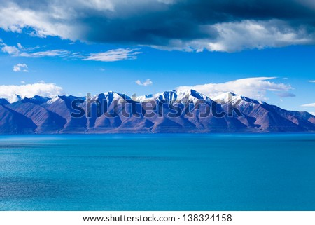 Snow-capped moutains in east lake shore of Tangra Yumco in Nagqu county