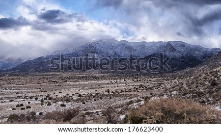 Snow Capped Sandia Mountains - stock photo
