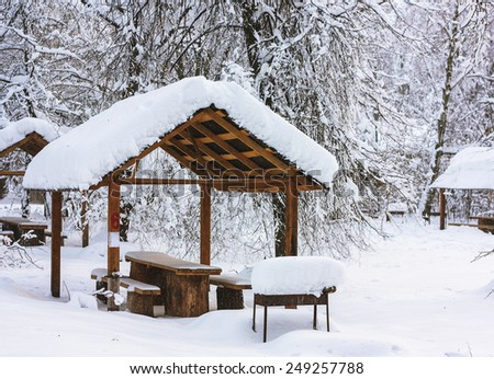 Snow-covered arbor in winter