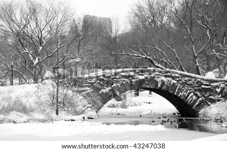 Snow covered arch in Central Park New York - B&W