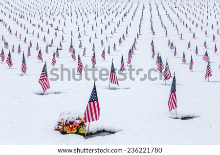Snow-covered cemetery with American flags above - stock photo
