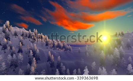 Snow covered Christmas forest in mountains - stock photo