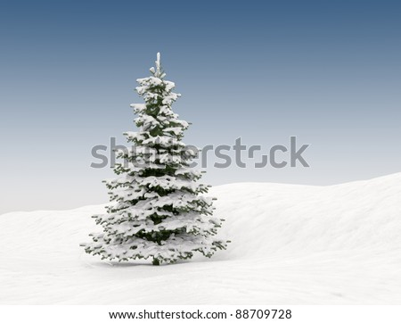 Snow covered Christmas tree - winter landscape - stock photo