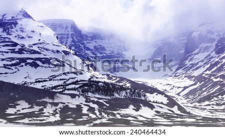 Snow-covered columbia ice field, jasper national park, alberta, canada  - stock photo