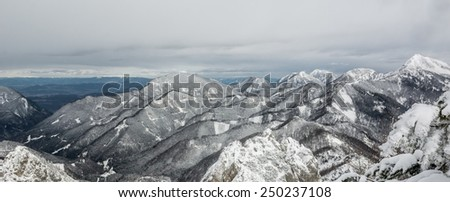 Snow covered forest covering hills and mountain. - stock photo
