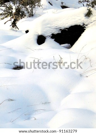Snow Covered Hill Side - stock photo
