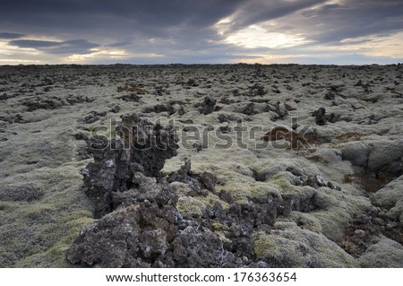 Snow-covered Lava field on Iceland. - stock photo