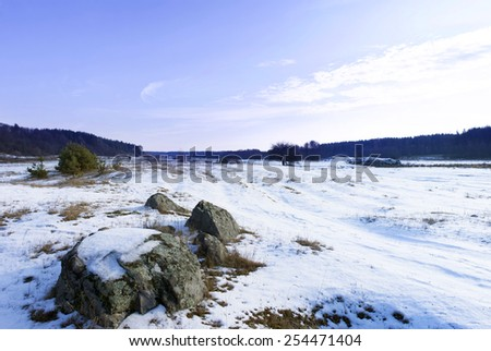 Snow Covered Meadow in a winter - stock photo