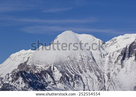 Snow covered mountain Krn, near Kobarid, Slovenia
