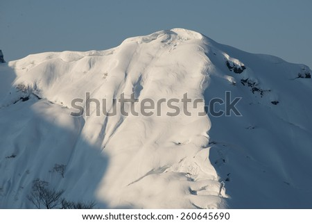 Snow covered mountain peak of Mount Tanigawa in Minakami, Gunma prefecture, Japan