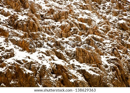 Snow Covered Mountain Rock