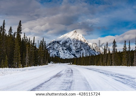 Snow covered mountain scenery in the winter, Kananaskis Country Alberta Canada