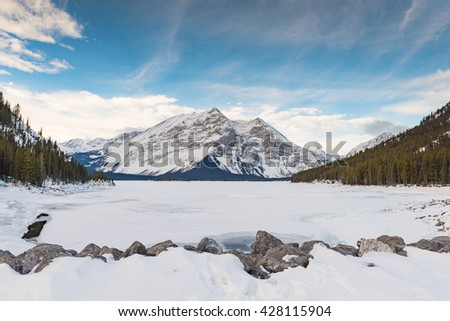 Snow covered mountain scenery in the winter, Kananaskis Country Alberta Canada - stock photo