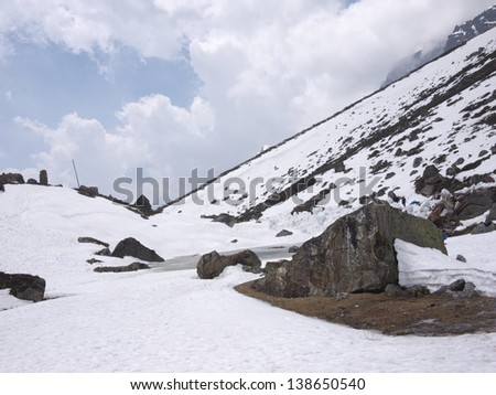 Snow covered mountains and ground floors of Yumesamdong (Zero Point) in Lachung, North Sikkim.
